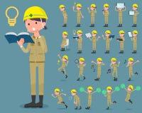 Flat type helmet construction worker woman_2 Stock Photos