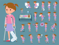 Flat type Pink clothing girl_sickness Royalty Free Stock Images