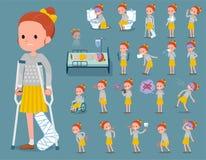Flat type Polka dot clothes ribbon girl_sickness Stock Images