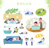 Flat type Store staff Blue uniform men_relax. A set of Store stuff man about relaxing.There are actions such as vacation and stress relief.It's vector art so it' stock illustration