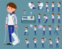 Flat type store staff blue uniform women sickness Royalty Free Stock Photo