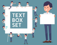 Flat type White short sleeved men_text box. Set of various poses of flat type White short sleeved men_text box Royalty Free Stock Photos