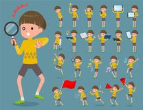 Flat type Yellow clothes Bob hair boy_2 Stock Photography