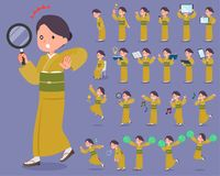 Flat type yellow ocher kimono  women_2 Royalty Free Stock Photos