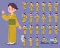 Flat type yellow ocher kimono  women_1 Stock Photos