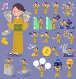 Flat type yellow ocher kimono  women_money Royalty Free Stock Image