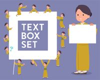 Flat type yellow ocher kimono  women_text box Stock Images