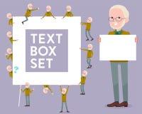 Flat type Yellow Ocher knit old man White_text box Royalty Free Stock Photo