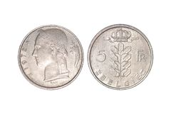 Countries` old coins, year 1972, belgie. A flat, typically round piece of metal with an official stamp, used as money stock photos