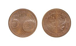 European Union five cents. A flat, typically round piece of metal with an official stamp, used as money stock image