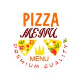 Flat vector typography logo design with vegetable pizza slices. Emblem for cafe menu, restaurant, food delivery company. Royalty Free Stock Image