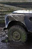Flat tyre. 4x4 jeep with Flat tyre in mud stock photos