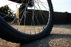 Flat Tyre. Mountain bike tyre puncture outside Royalty Free Stock Images