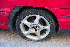 Flat Tyre Royalty Free Stock Photos