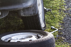 Flat tyre road side Stock Images