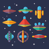 Flat Ufo spaceships set. Unidentified flying objects. Stock Photography