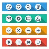 Flat UI design elements - set of basic web icons Royalty Free Stock Images
