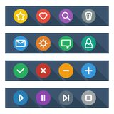 Flat UI design elements - set of basic web icons. In colorful circles with long shadows. Vector illustration Royalty Free Stock Image