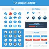 Flat UI design elements. Set - icons, buttons, progress bars. Vector illustration. Light colors Royalty Free Stock Photo
