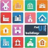 Flat ui design icons. Buildings. Stock Photography