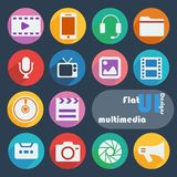 Flat ui design icons. Multimedia. Stock Photo