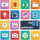 Flat ui design icons. Multimedia. Multimedia icon set in different colors royalty free illustration