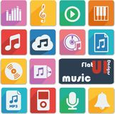 Flat ui design icons - Music. Royalty Free Stock Images