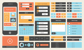 Flat UI design kit for smart phone. Modern UI flat design vector kit in trendy color with simple mobile phone, buttons, forms, and other interface items