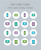 Flat ui kit icons of mobile, tablet, desktop, notebook Royalty Free Stock Images