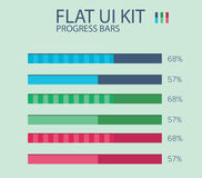 Flat UI KIT progress bars design template Stock Photography