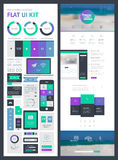 Flat UI Kit for Web and Mobile Stock Image