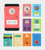 Flat Ui or UX mobile apps kit Stock Photos
