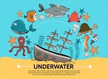 Flat Underwater World Concept stock illustration