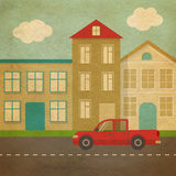 Flat urban landscape in retro style Stock Image