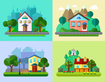 Flat Urban and Village Landscapes Stock Image