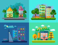 Flat Urban and Village Landscapes Royalty Free Stock Photos