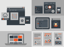 Flat user interface design elements. Modern flat design  illustration icons set of buttons, forms, tabs, sliders and other navigation and infographic elements Royalty Free Stock Photo