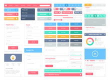 Flat user interface elements set Stock Images