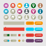 Flat user interface vector set for website development and mobile application design with lots of colorful stylish icons Stock Image