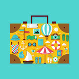 Flat Vacation Summer Holiday Objects Set Stock Image