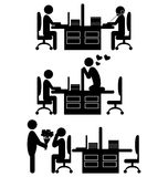 Flat valentine`s day office icons isolated on white Royalty Free Stock Photo