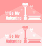 Flat Valentines Card of banners with hearts and  lantern Royalty Free Stock Image