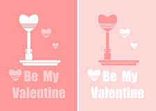 Flat Valentines Card of banners with hearts and  lantern Royalty Free Stock Photo