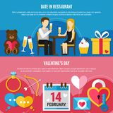 Flat Valentines Day Banner Set. Two horizontal flat Valentines day banner set with date in restaurant and 14 February descriptions vector illustration Royalty Free Stock Photography