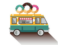 Flat van and donut. Truck with dessert. Stock Image