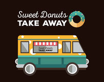 Flat van and donut. Truck with dessert. Stock Photo