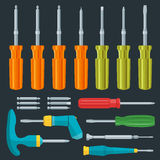 Flat various screwdrivers set. Vector various screwdriver flat style set Royalty Free Stock Photography