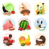 Flat vecrtor set of compositions with different products. Fresh vegetables and fruits, bottles with oils, bakery, sweets stock illustration