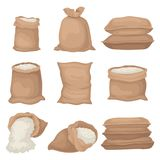 Flat vectoe set of burlap sacks with rice or flour. Large textile bags. Agricultural product. Elements for promo poster. Set of burlap sacks with rice or flour vector illustration