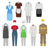 Flat vectoe set of staff clothing. Clothes of restaurant workers, maid, stewardess, firefighter. Male and female garment vector illustration